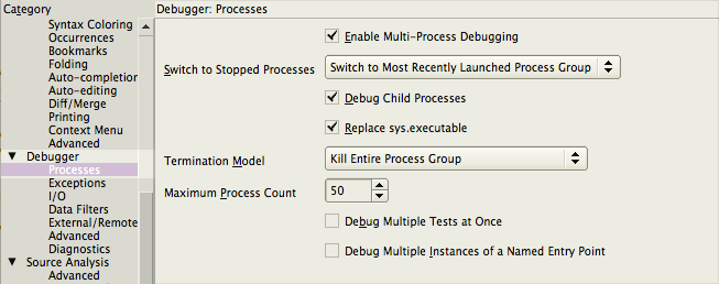 Multi-Process Debug Preferences